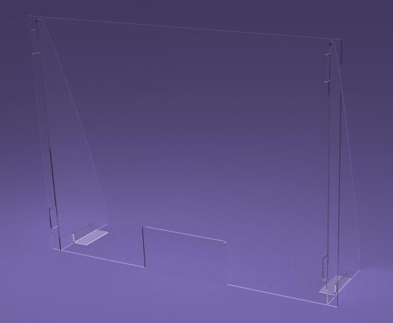 osłona z plexi na ladę biurko z wysokimi bokami i kątownikami