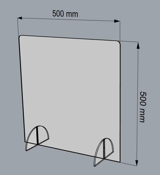 osłona z plexi na biurko ladę 500 x 500 mm